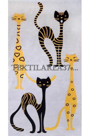"Полотенце ""Кошки"" 85*180 (лен+хлопок) вид 3"