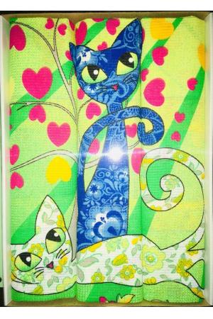 Набор вафельных полотенец подарочный «Кошки N16»
