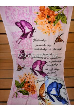 "Полотенце "" Бабочки"" 50*100 (лен-махра)"