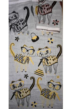 "Полотенце ""Кошки"" 50*100 (лен+хлопок) вид 4"