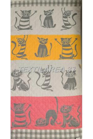 """Полотенце """"Кошки"""" цветные 70*140 (лен+хлопок)"""