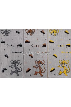 """Полотенце """"Мышки"""" 34*74 вид 3 (лен+хлопок)"""
