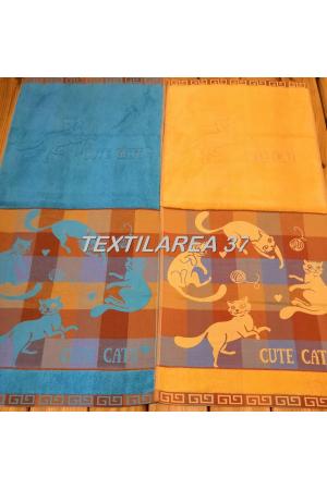 "Полотенце махровое ""Ручное кошечки"" лен+махра 34x74"
