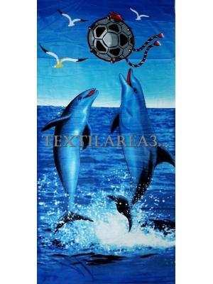 """Полотенце пляжное """"Дельфины с мячом"""""""
