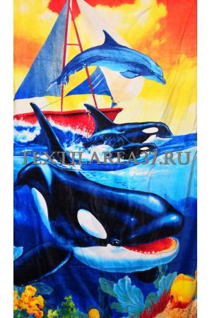 """Полотенце пляжное """"Дельфины"""" вид 22"""