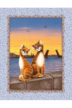 """Полотенце кухонное рогожка  """" Питерские коты 1"""" вид 3"""