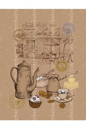 """! Полотенце рогожка кухонное """" Кофейня"""" вид 1"""
