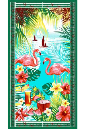 "Полотенце вафельное банное  ""Фламинго"""