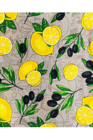 "Полотенце вафельное кухонное кайма ""лимон на сером"""
