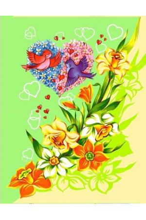 """Полотенце вафельное кухонное """" Цветы Вид 6"""""""