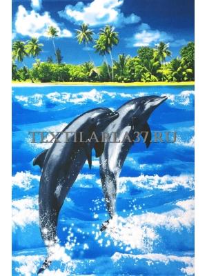 """Полотенце вафельное супербаня """"Дельфины"""" вид2"""