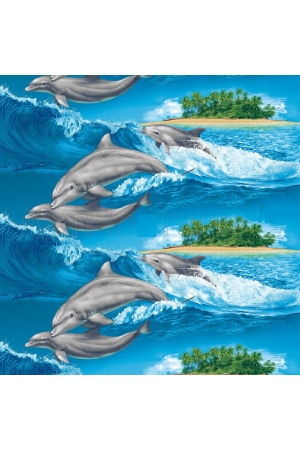 """Полотенце вафельное супербаня """"Дельфины"""" вид4"""