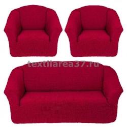 Чехол на диван + 2 кресла (3 предмета) БЕЗ ОБОРКИ 05 (бордовый)