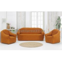 Чехол на диван + 2 кресла (3 предмета) БЕЗ ОБОРКИ 08 (бронзовый)