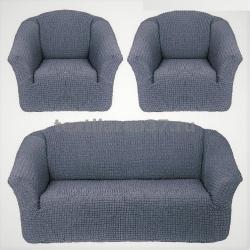 Чехол на диван + 2 кресла (3 предмета) БЕЗ ОБОРКИ 09 (серый)