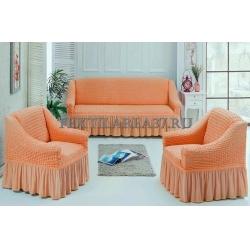 Чехол на диван + 2 кресла (3 предмета) 17 (персиковый)