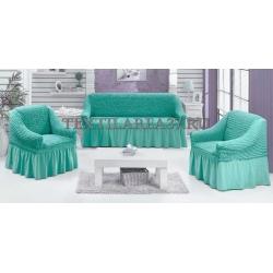 Чехол на диван + 2 кресла (3 предмета) 19 (мятный)