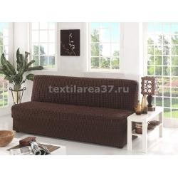 Чехол на трехместный диван без подлокотников 02 (шоколад)