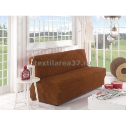 Чехол на трехместный диван без подлокотников 06 (коричневый)