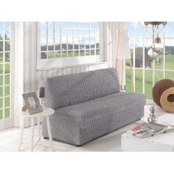 Чехол на трехместный диван без подлокотников 09 (светло серый)