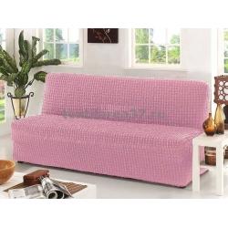 Чехол на трехместный диван без подлокотников 10 (розовый)