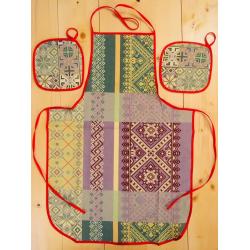 Набор рогожка « Фартук, 2  прихватки» вид 22