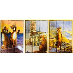 Набор полотенец рогожка  подарочный «Коты-ассорти»