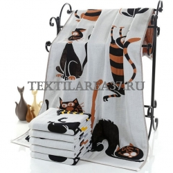 """Полотенце """"Кошки"""" 70*140 (лен+хлопок)"""