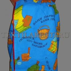 """Полотенце на липучке вафельное """"Банька с веником"""" (синее)"""