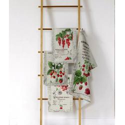 """Набор полотенец рогожка кухонное 35*61- 4 штуки """"Льняные рецепты"""""""