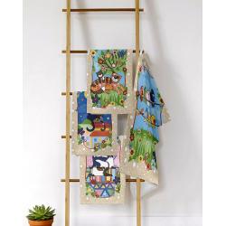 """Набор полотенец рогожка кухонное 35*61- 4 штуки """"Лоскутное шитье"""""""