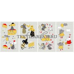 Набор полотенец рогожка кухонное 35*61-мышки- 4 штуки