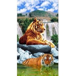 """Полотенце вафельное банное  """"Тигры на водопаде"""""""