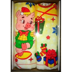 Вафельные полотенца в подарочной упаковке «Год Свиньи N1»