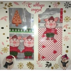Вафельные полотенца в подарочной упаковке «Год Свиньи N5»Рисунки разные