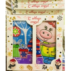 Вафельные салфетки  в подарочной упаковке «Год Свиньи N8»Рисунки разные